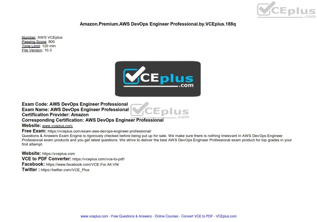 Amazon PREMIUM AWS DevOps Engineer Professional by VCEplus 188q