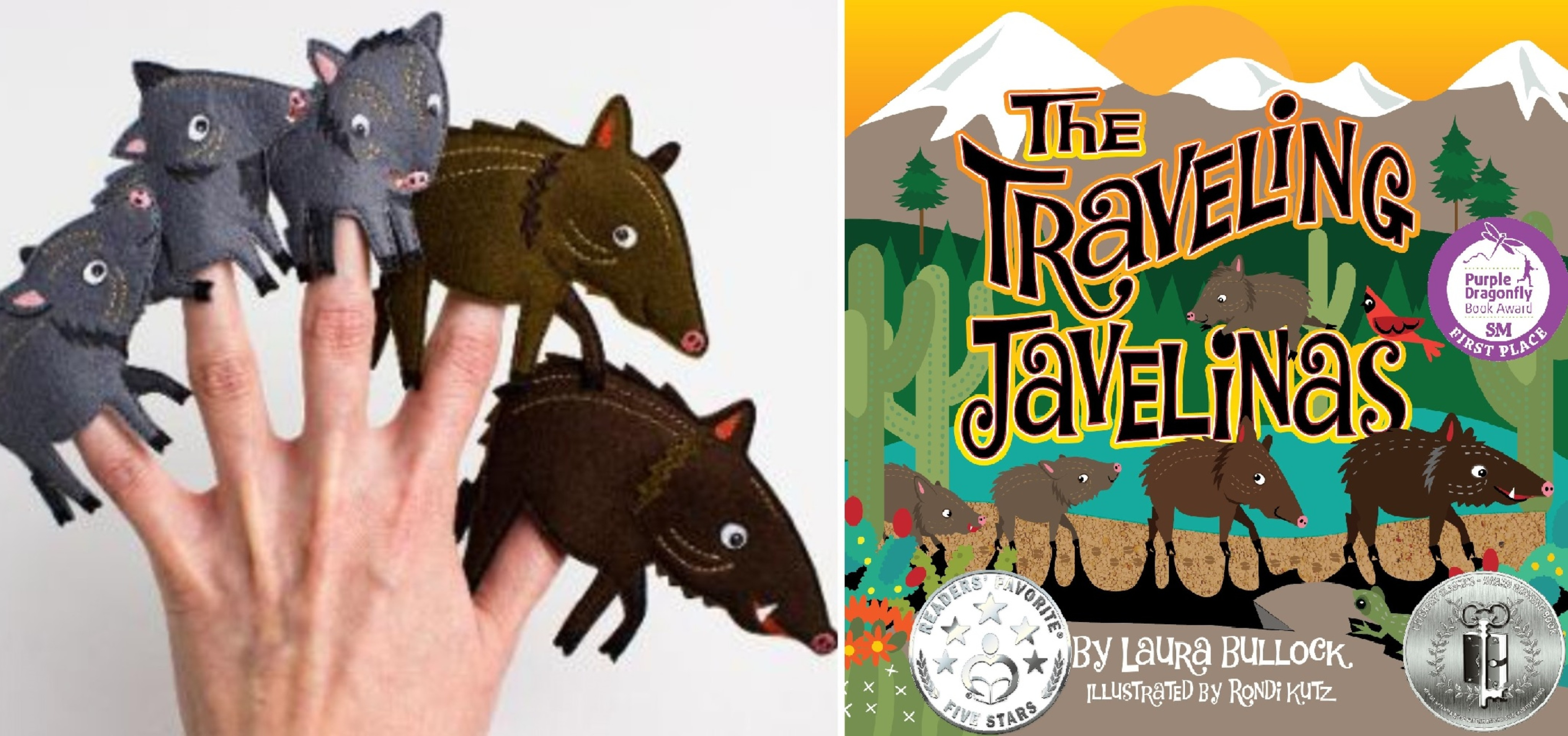 The Traveling Javelinas Finger Puppets & Book