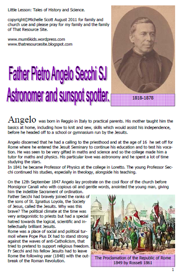 Fr Pietro Secchi SJ Astronomer and Sunspot Spotter