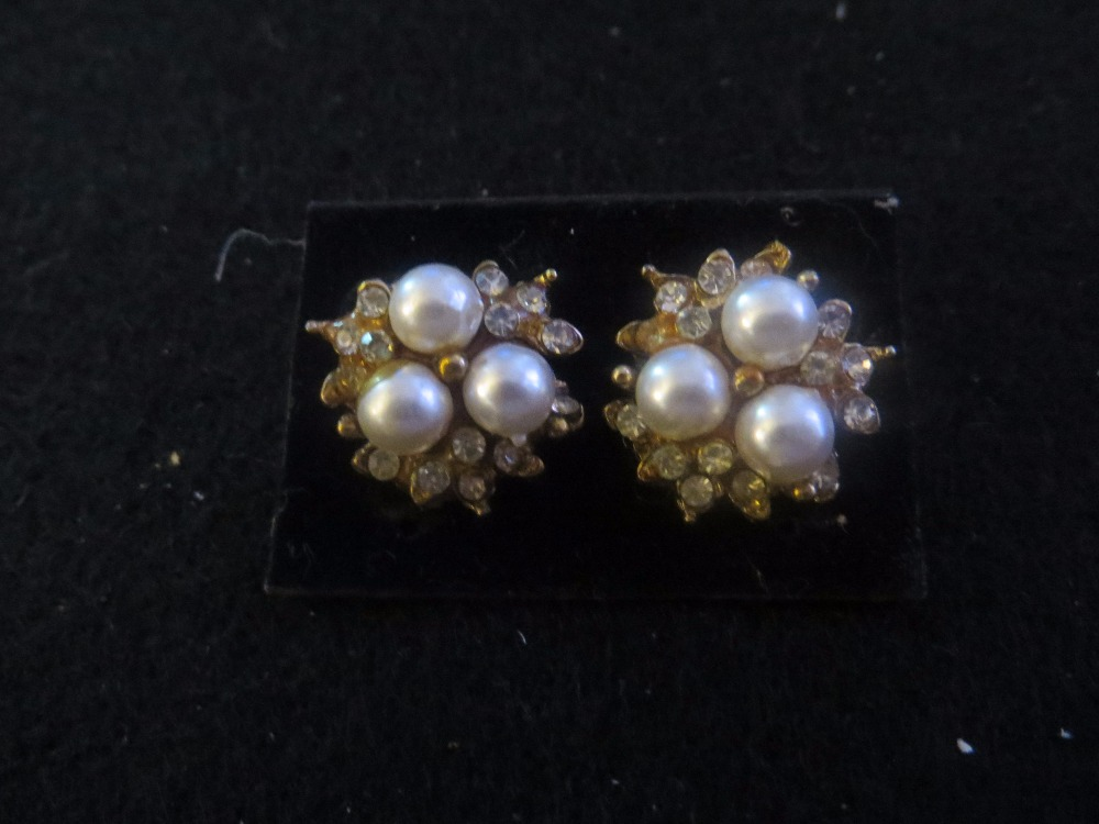 Vintage Pearl and Rhinestone Clip Earrings