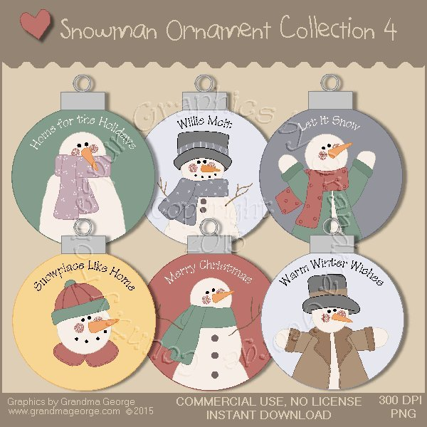 Country Snowman Ornament Collection Vol. 4