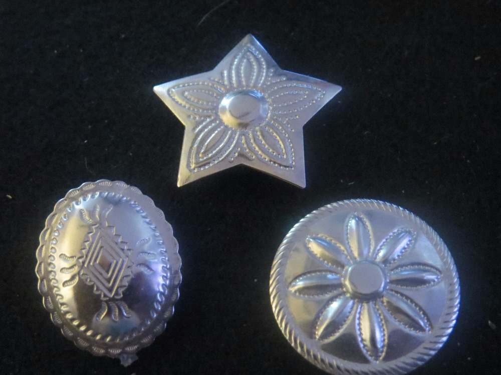 Vintage Silver Western Button Covers