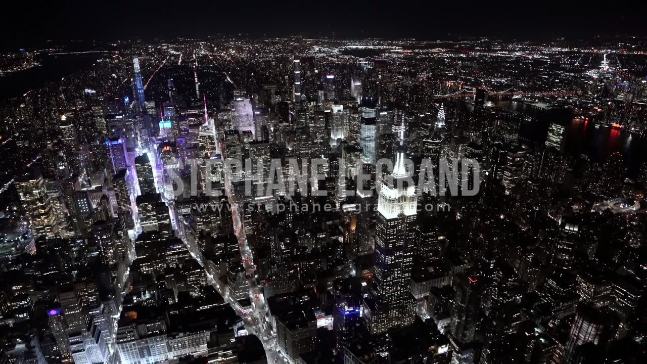 New York City , USA, Aerial  - Wide angle view of the Empire State Building at Night