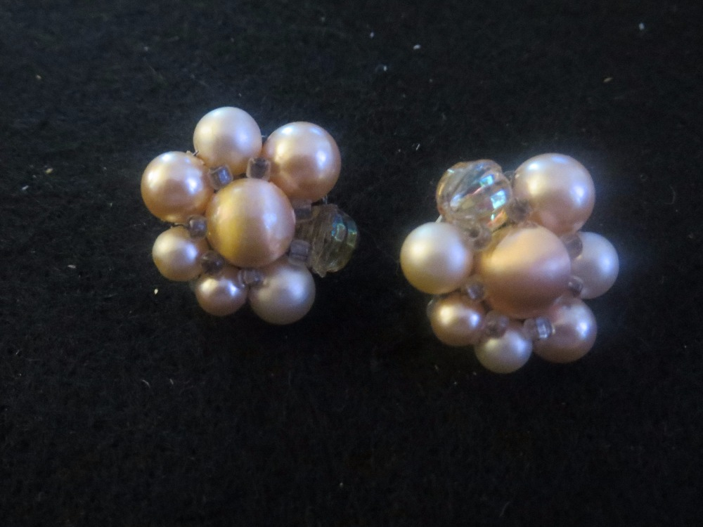Vintage Champagne Pearl Clip Earrings