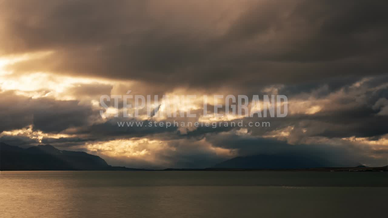 Torres del Paine, Chile, Timelapse  - The shore before the sunset in Puerto Natales