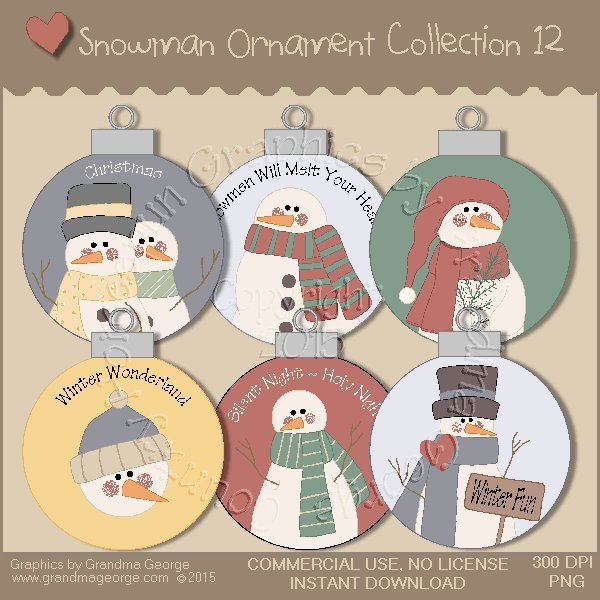 Country Snowman Ornament Collection Vol. 12