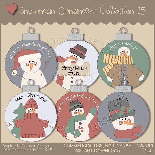Country Snowman Ornament Collection Vol. 15