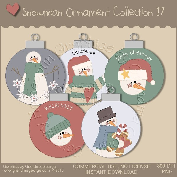Country Snowman Ornament Collection Vol. 17