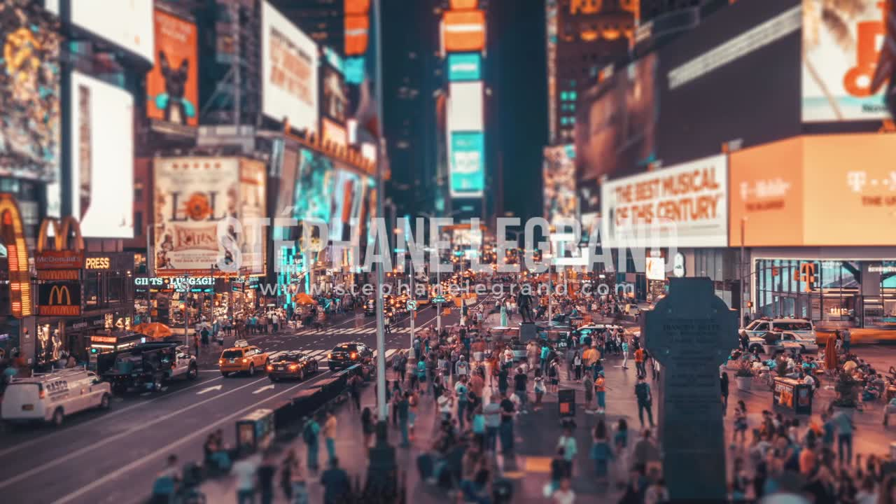 New York City , USA, Timelapse  - Times Square at Night