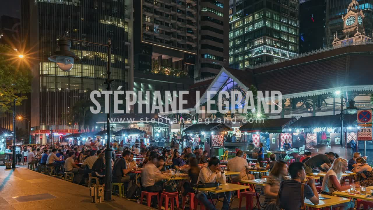 Singapore | The Downtown outdoor food court at Night (sideview)
