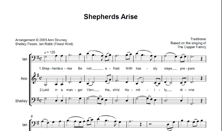 Shepherds Arise: licensed for 11-20 singers