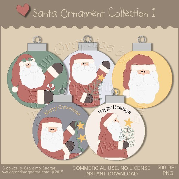 Santa Ornament Collection Vol. 1