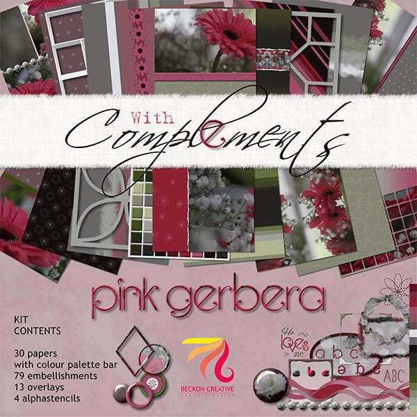 Digital Scrapbooking: Pink Gerbera Kit