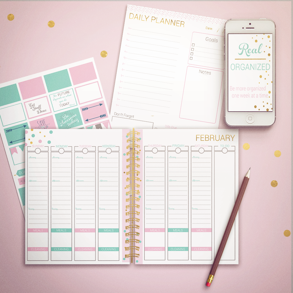 Printable Calendar - Weekly & Daily Planning – Gold