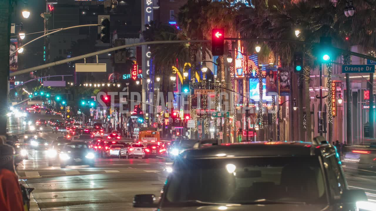 Los Angeles, USA, Timelapse  - Hollywood Boulevard at Night