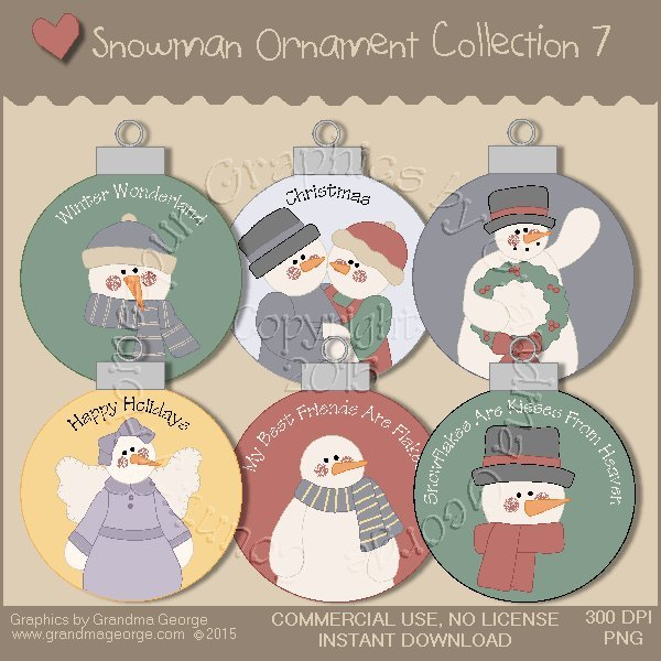 Country Snowman Ornament Collection Vol. 7