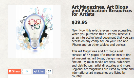 E-list of Art Magazines, Art Blogs, Artist Directories
