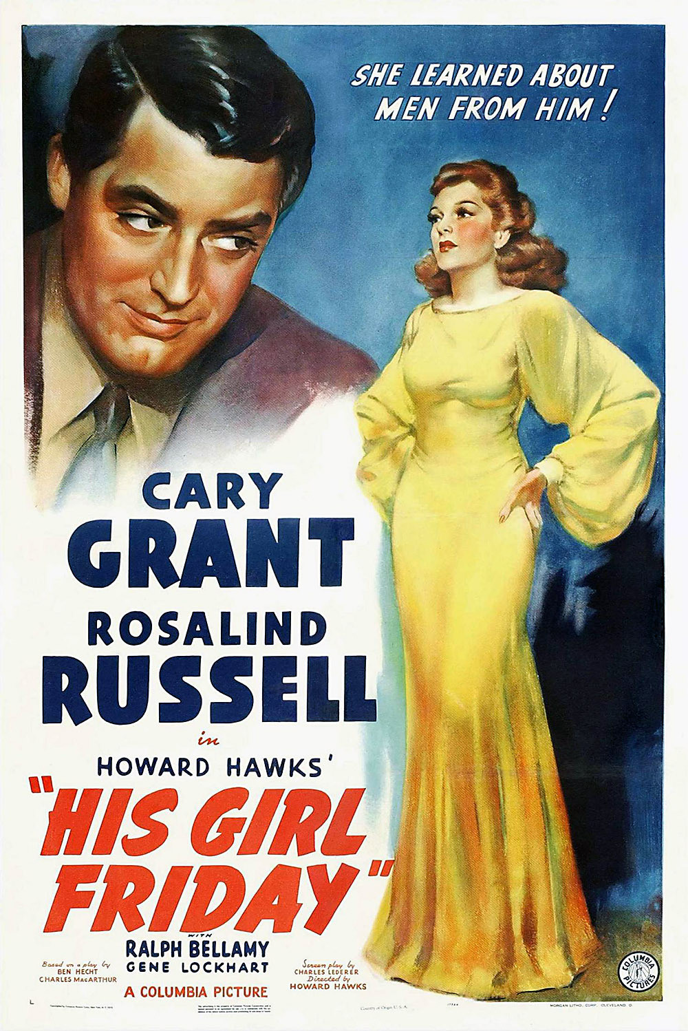 """Cary Grant in """"His Girl Friday""""  (1940)"""