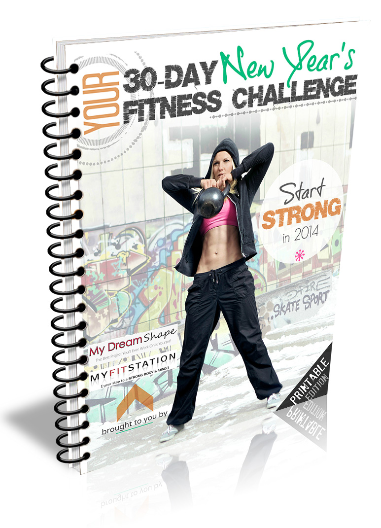 New Year Resolution Fitness Challenge - 30 Day Workout Calendar + Meal Plan