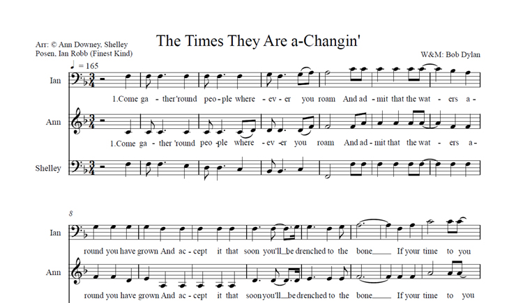 The Times They Are a-Changin': licensed for 21-30 singers