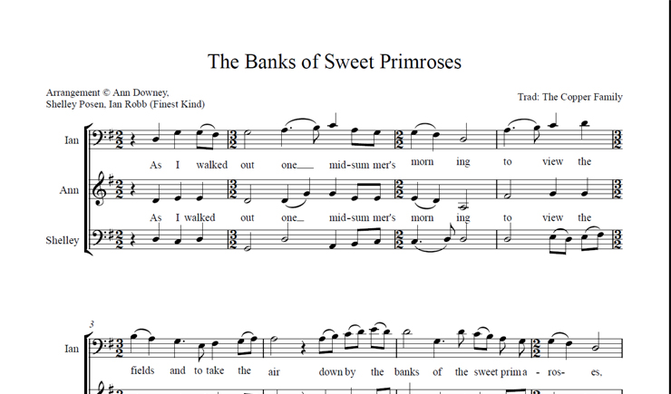 The Banks of Sweet Primroses: licensed for 1-10 singers