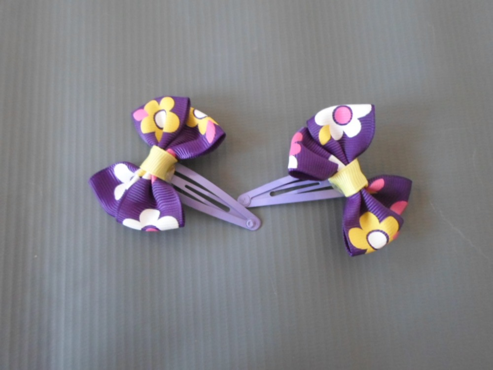 Purple Grosgrain Ribbon Hair Bows Purple- 2 pcs