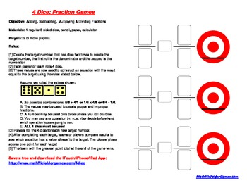 4 Dice: Fraction Games (Adding, Subtracting, Multiplying & Dividing Fractions)