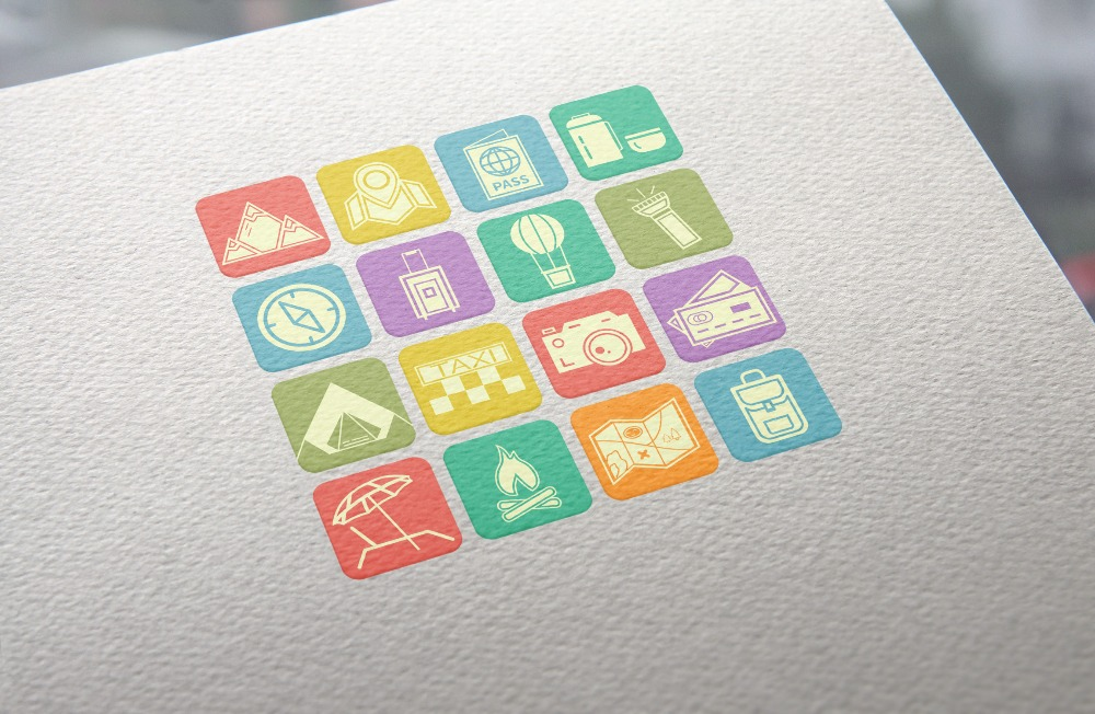 Camping Icon, Badge and Logo Set