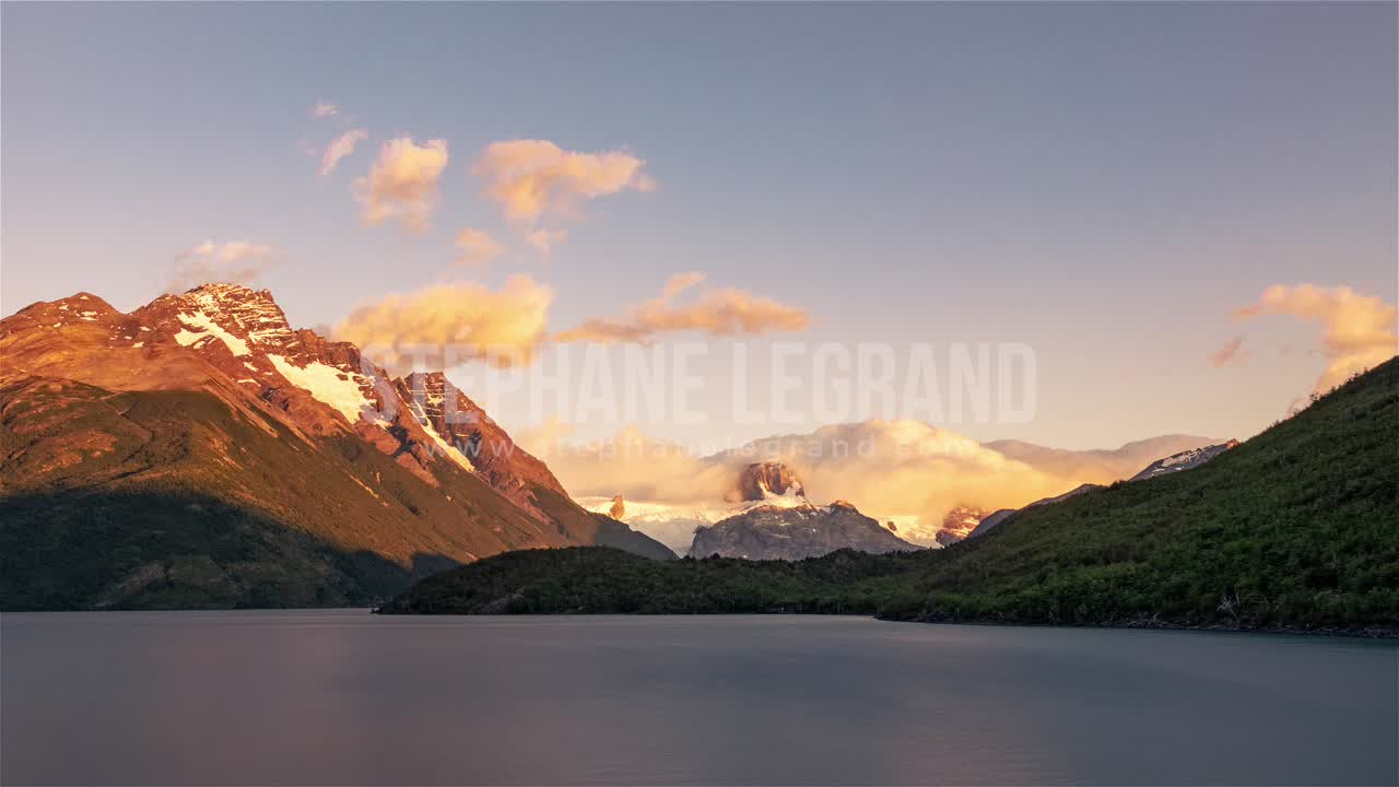 Torres del Paine, Chile, Timelapse  - The lake and the mountains during the sunset