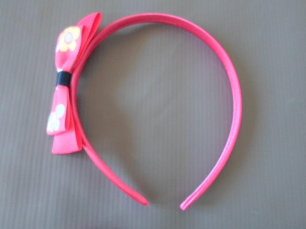 Cute Hairbow Head Band with Grosgrain Ribbon Bows - hot pink