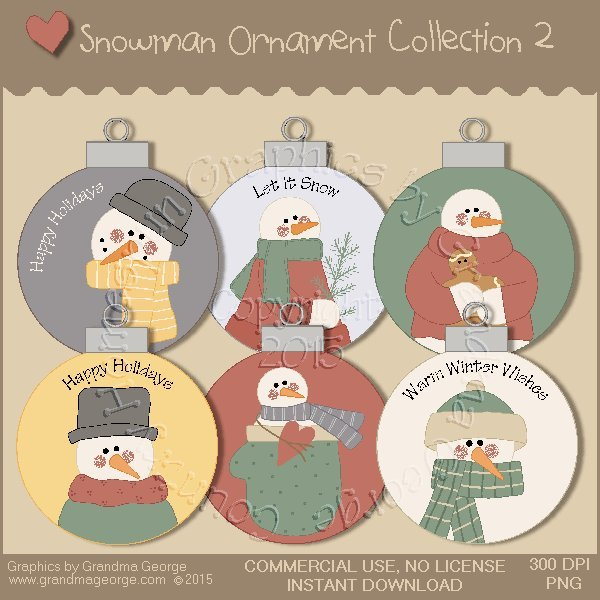 Country Snowman Ornament Collection Vol. 2