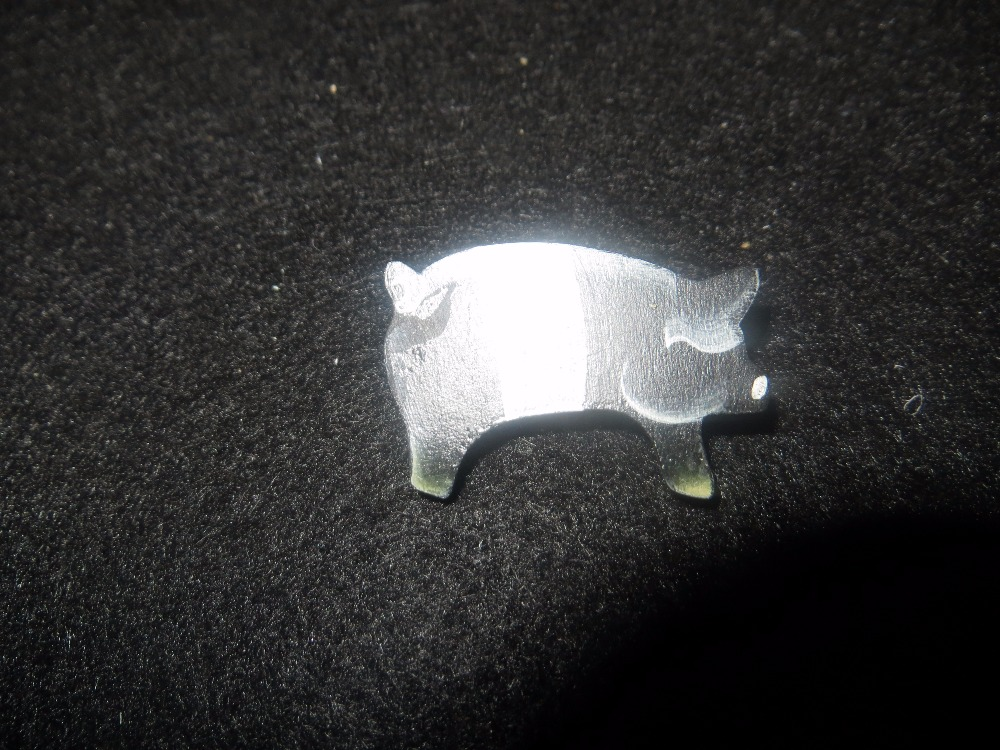 Handpainted Black and White Pig Wooden Pin
