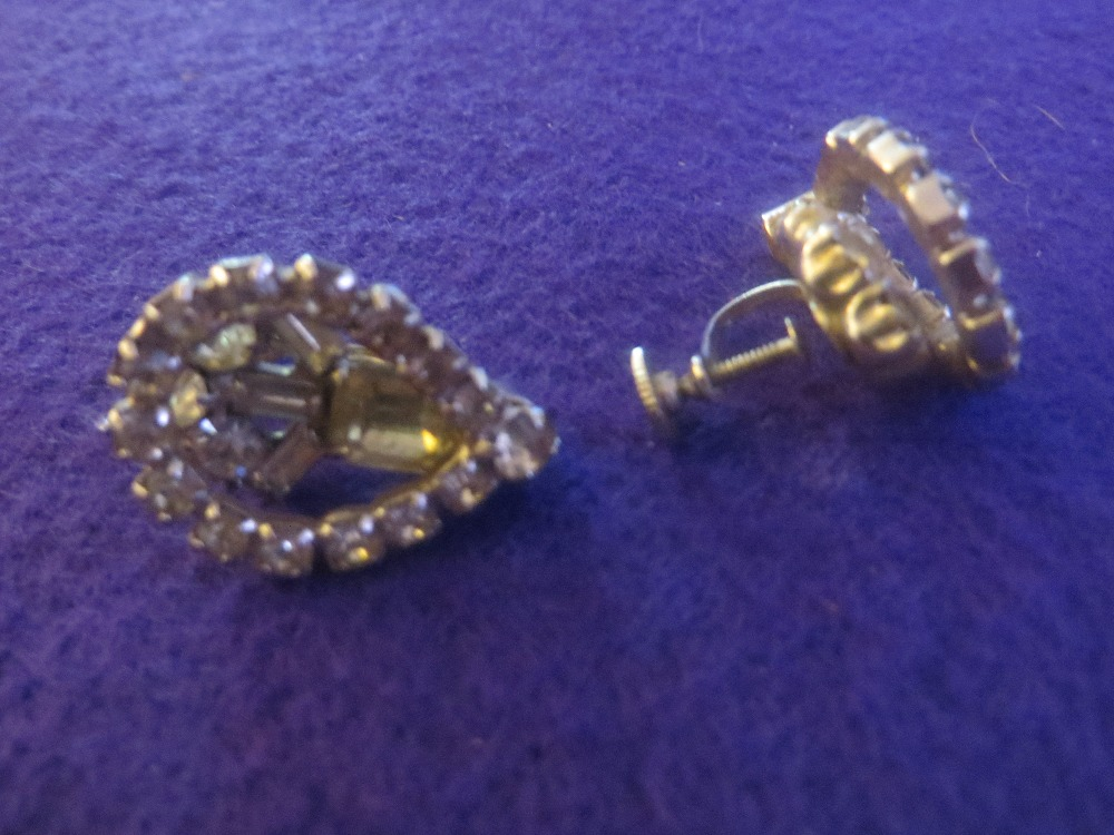 Vintage Layered Rhinestone Screw Earrings