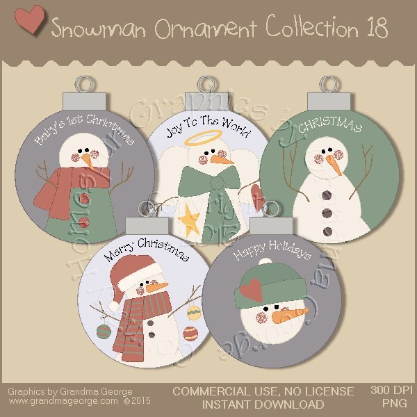 Country Snowman Ornament Collection Vol. 18