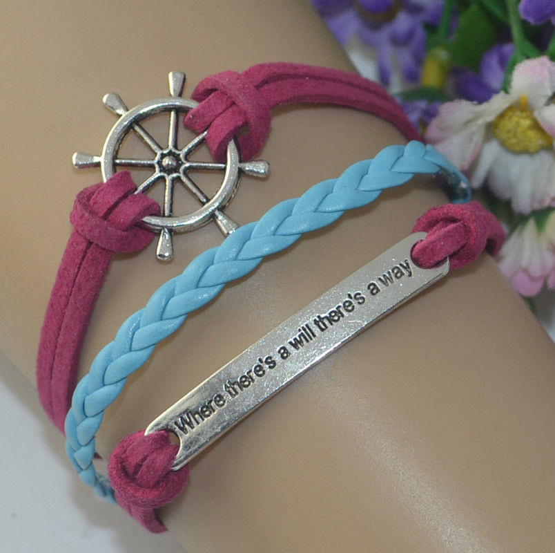 Leather Banded Bracelet- where there is a will there is a way