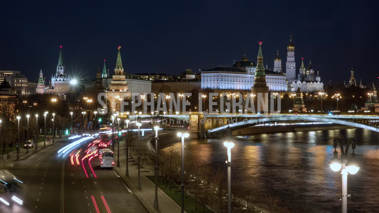 Moscow, Russia, Timelapse  - The Kremlin at Night