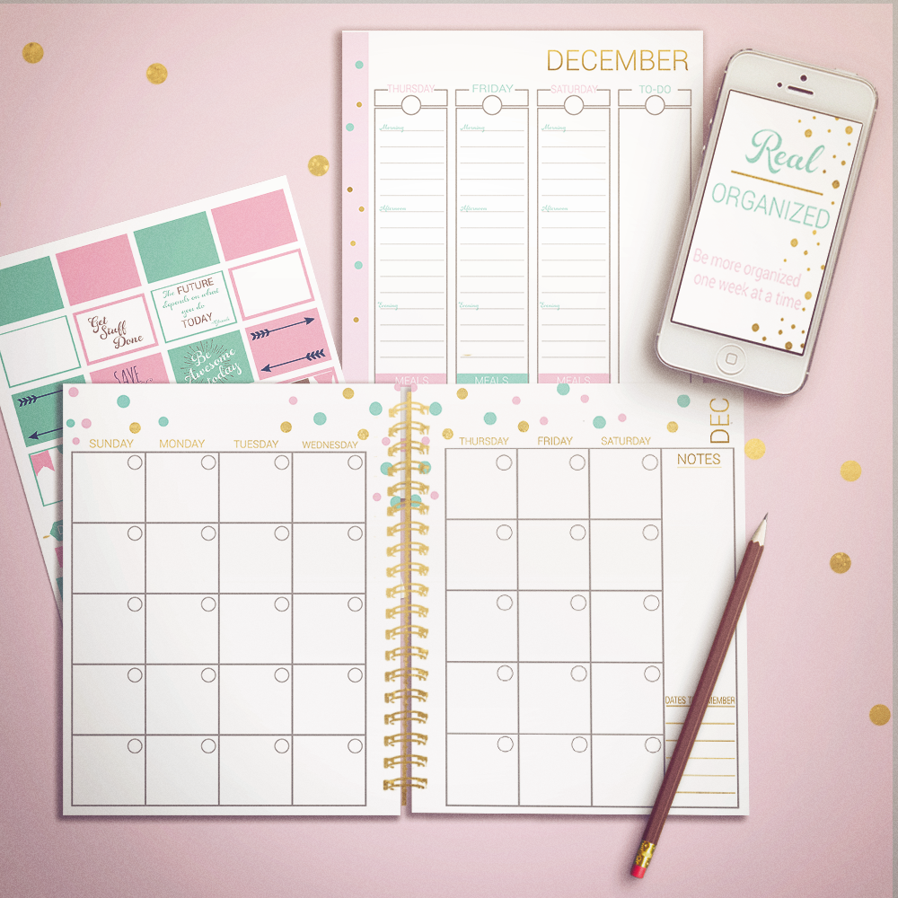 Printable Calendar – Monthly & Weekly Planning – Gold