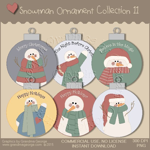 Country Snowman Ornament Collection Vol. 11