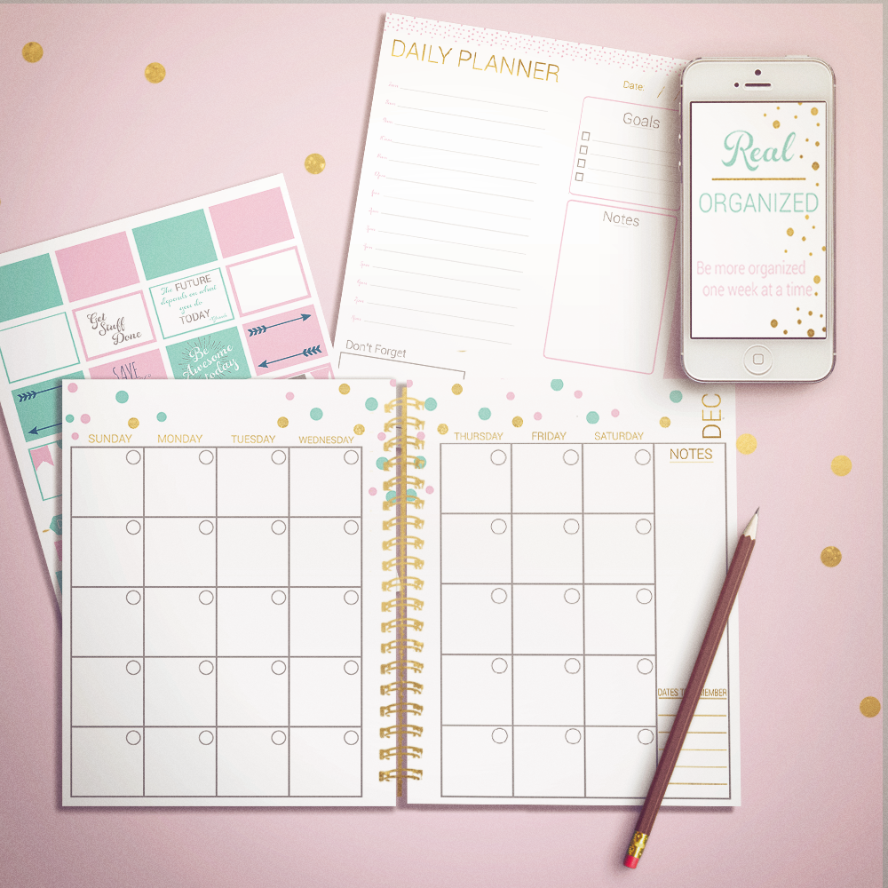 Printable Calendar - Monthly & Daily Planning - Gold