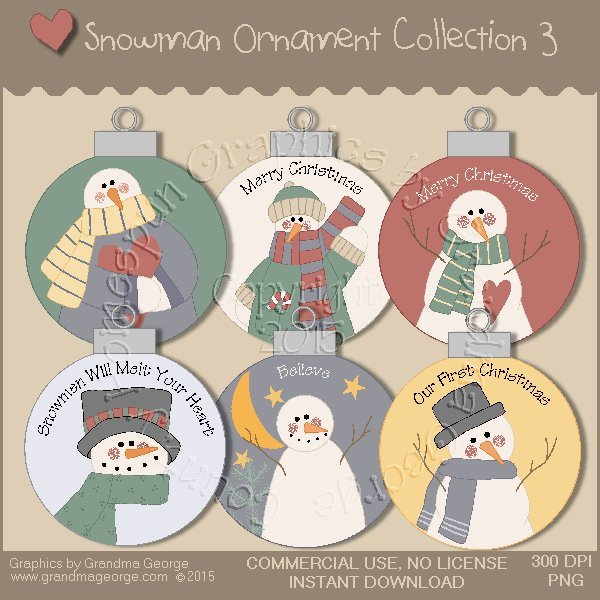 Country Snowman Ornament Collection Vol. 3