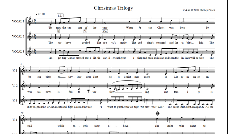 Christmas Trilogy: licensed for over 30 singers