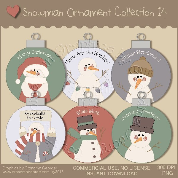 Country Snowman Ornament Collection Vol. 14