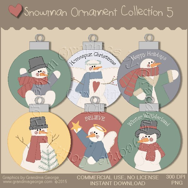 Country Snowman Ornament Collection Vol. 5