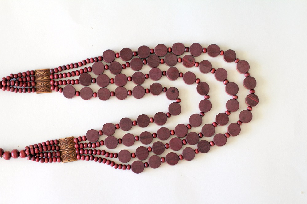 Long 4 layered Red Clay Beaded Necklace