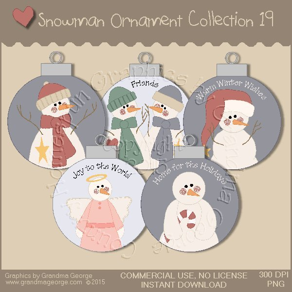 Country Snowman Ornament Collection Vol. 19