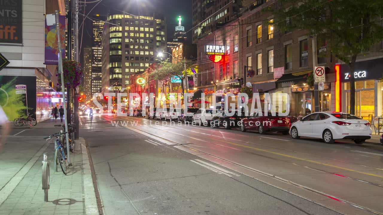 Toronto, Canada - Timelapse  - King West at Night