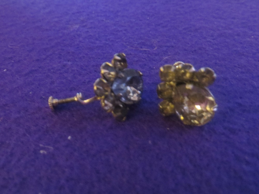 Vintage Champagne Rhinestone Screw Earrings