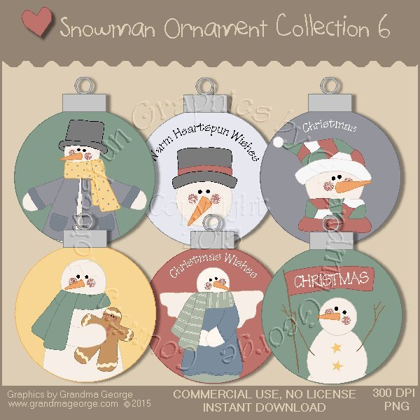 Country Snowman Ornament Collection Vol. 6