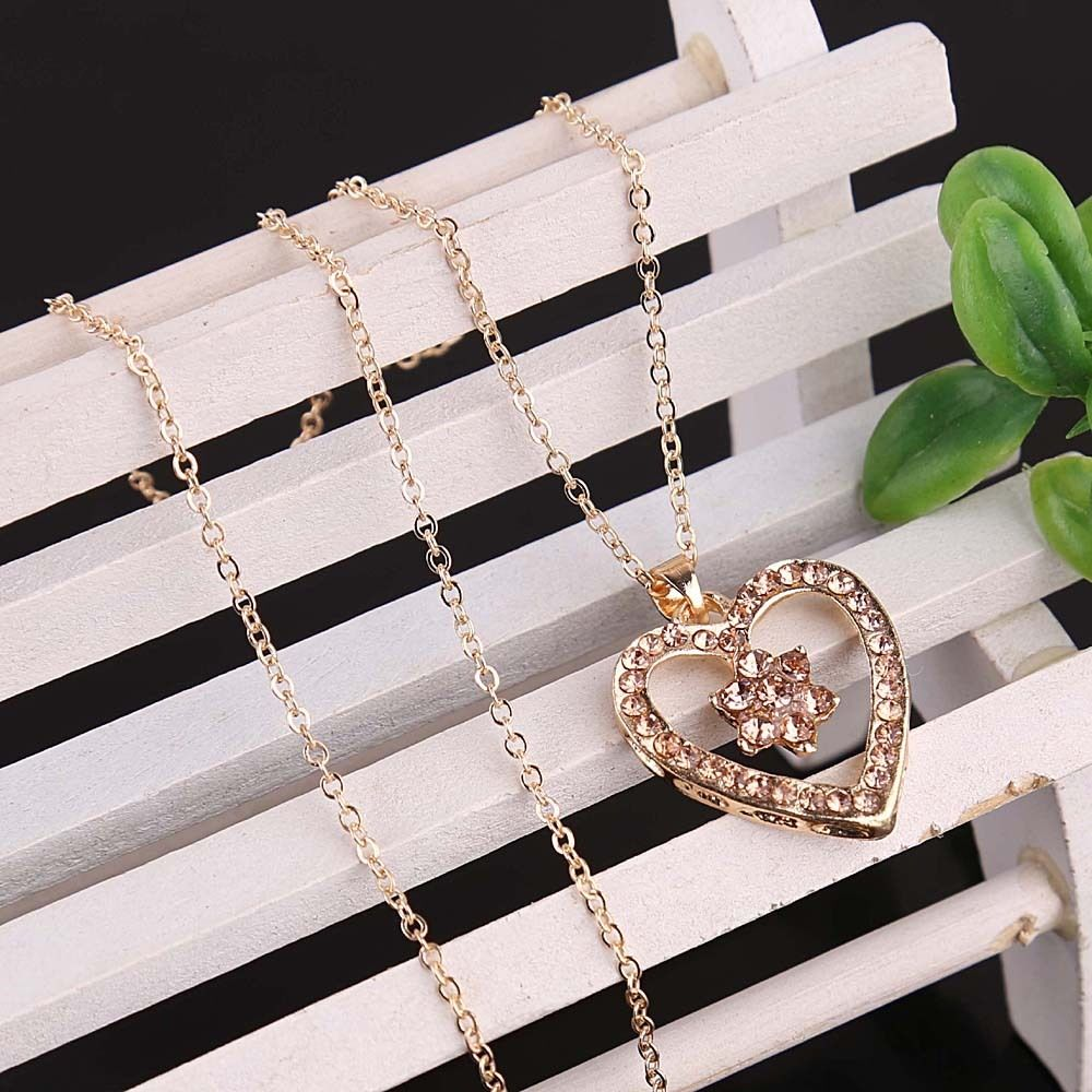 New Fashion 14k Gold Filled Austrian Crystal Heart Pendant Necklace