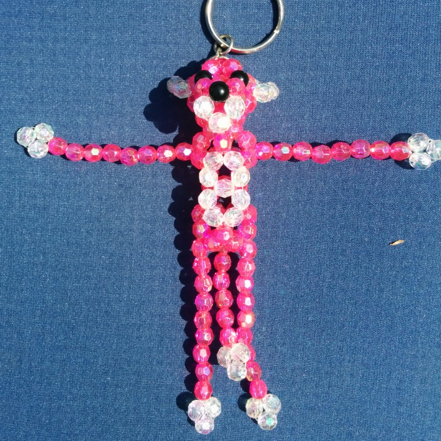 Beaded Pink Panther Keychain